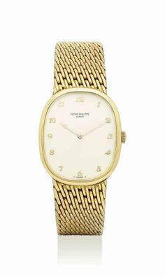 PATEK PHILIPPE. AN 18K GOLD OVAL WRISTWATCH WITH BRACELET AND BREGUET NUMERALS