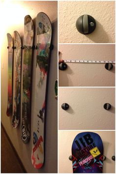 "Use door stops to mount your snowboard collection on a wall. An easy, cheap and sturdy way to display a collection.   1. Make sure to buy the floor mount style stopper. You'll need two per board. 2. Measure the waist and nose width of your boards and note where the average is. Most boards noses are larger than 11"" while their waists are narrower. 3. Drill holes that are level for each stopper and mount to wall with hardware.  Mounting or dismounting a board is as easy as sliding it up or…"