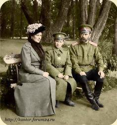Alexandra and Nicholas, with Alexei, their only son. He was born with hemophilia. The whole family was killed by Bolsheviks in 1918 after the Russian Revolution of 1917. Russia's massive defeat and losses in World War I was a major cause.