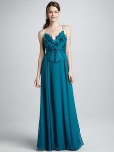 2014 Style A-line Spaghetti Straps Sashes / Ribbons Sleeveless Floor-length Chiffon Bridesmaid Dresses / Prom Dresses / Evening Dresses