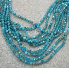Neon Blue Apatite 2.5mm Sparkling Faceted Round Beads 16