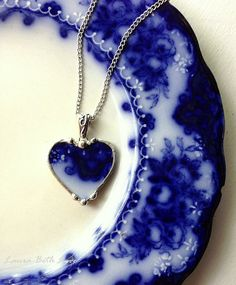 Broken china necklace heart pendant Antique flow blue shamrock or clover broken china jewelry 100 year old china
