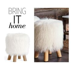 """Bring It Home: Mongolian Faux Fur Stool"" by polyvore-editorial ❤ liked on Polyvore featuring interior, interiors, interior design, home, home decor, interior decorating, Pottery Barn and bringithome"