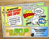 Superhero Birthday Party Invitation / invite - Personalized DIY superhero birthday party decorations. $18.00, via Etsy.