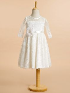 Lanting Bride ® A-line Knee-length Flower Girl Dress - Lace Half Sleeve Scoop with Lace - USD $59.99