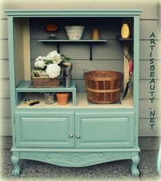 Michelle hawkins could make a cute potting bench from the entertainment center in Autumn's room...      The 36th AVENUE | 15 DIY Projects for the Home