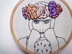 Amy Jones - Floral Crown Embroidery 'Lily' 3 inch Hoop by CheeseBeforeBedtime