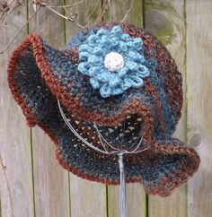 Floppy Winter Woman's Hat in Browns and Blue With a by Arboresk, €38.00