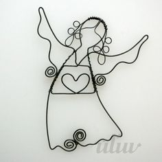 angel                                                                                                                                                                                 Mehr Wire Ornaments, Christmas Angel Ornaments, Christmas Crafts, Handmade Angels, Handmade Crafts, Wire Crafts, Metal Crafts, Barbed Wire Art, Beaded Angels