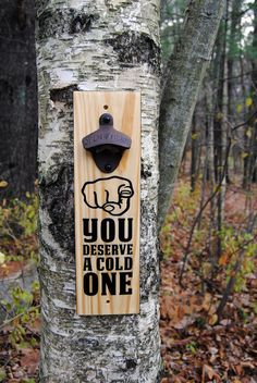 Paint on reclaimed wood with mounting holes and rustic steel bottle opener. Woodworking Projects Diy, Wood Projects, Beer Bottle Opener, Bottle Openers, Wood Pallets, Pallet Wood, Garden Planter Boxes, Wall Mounted Bottle Opener, Wood Burning Patterns