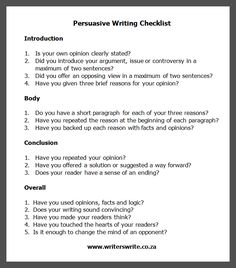 Thesis For An Analysis Essay Persuasive Writing Checklist  Writers Write High School Memories Essay also Environmental Science Essay Opinion Article Examples For Kids  Persuasive Essay Writing  The Yellow Wallpaper Analysis Essay