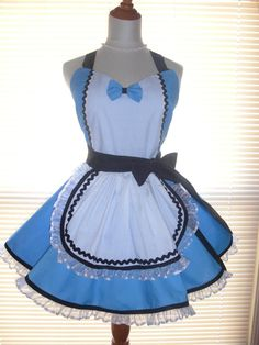 Retro Alice in Wonderland Inspired French Maid Apron Blue and White Trimmed in Black on Etsy, $47.90