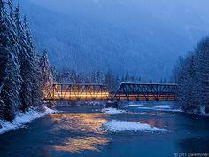 A Midwinter Night's Dream Skykomish River, Bnsf Railway, North Cascades, Ethereal, Washington, Vacation, Night, Water, Bob Ross