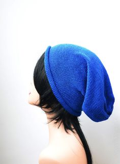Royal Electric blue knitted beanie hat - product images