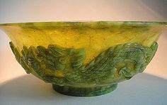 Carved Jade Bowl with Dragons  Birds of Paradise