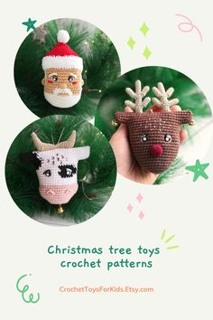 Set of 3 amigurumi toys patterns, crochet pattern bull, deer and Santa Claus. You can buy crochet patterns separately in my store.