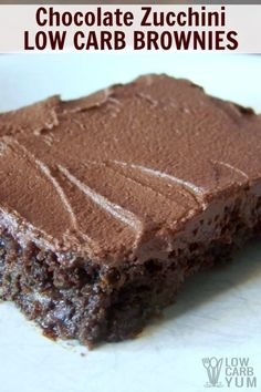Everyone loves these super moist chocolate zucchini low carb brownies. Topped with a sugar-free chocolate frosting, these zucchini brownies are a winner. | LowCarbYum.com
