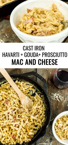 Our favorite childhood recipe is all grown up with this cast iron Havarti, Gouda and prosciutto macaroni and cheese. Time to dig in and get dinner on the table! Cheese Recipes, Pasta Recipes, Dinner Recipes, Cooking Recipes, Healthy Recipes, Drink Recipes, Iron Skillet Recipes, Cast Iron Recipes, Skillet Cooking