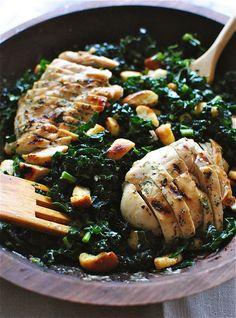 Kale Caesar Salad with Grilled Chicken