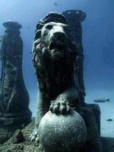 Large Egyptian lion statue found underwater