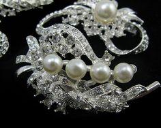 Lot 10x Clear Crystal Rhinestone Pearl by RhinestoneBridalTime