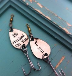 Personalized Fishing Lure Hooked on You gift by MamaDramaJewelry, $28.00