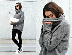 Sonja Rychkova - H&M Grey Knit, Adidas Superstar, Zara Clutch, Bershka Mirrored Sunglasses - Knit
