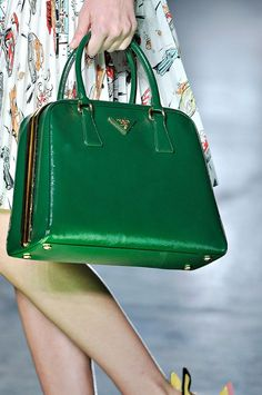 Green Prada bag.