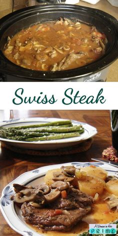 This Swiss Steak recipe is cooked in your crock pot so it's ready when you get home. Is there anything easier and better than that? http://www.awomaninherprime.com/slow-cooker-swiss-steak/
