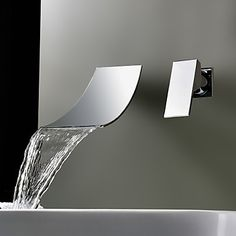 Waterfall Wall Mount Bathroom Faucet - Single Handle