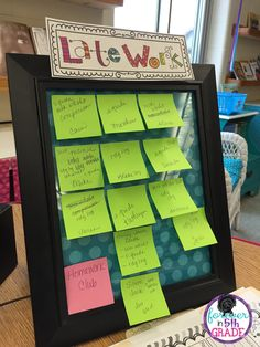 Idea for keeping up with late work. Sticky note board kept on teacher's desk.