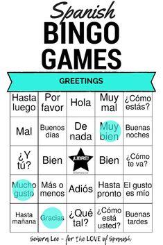 Spanish Greetings Bingo and Vocabulary List Learn Spanish Free, Learning Spanish For Kids, Spanish Lessons For Kids, Spanish Lesson Plans, Spanish 1, Spanish Language Learning, Teaching Spanish, Spanish Games, Spanish Activities