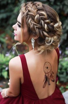 Wedding Hairstyles Medium Hair Messy French Braided Boho Updo for Prom - Need inspiration for gorgeous prom hairstyles for long hair? Don't worry, we've found 27 designs we think you might fall a little in love with. Prom Hairstyles For Long Hair, Braided Hairstyles For Wedding, Gorgeous Hairstyles, Hairstyle Wedding, Hairstyles 2018, Boho Updo Hairstyles, Long Haircuts, Bridesmaids Hairstyles, Latest Hairstyles