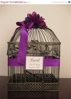 On Sale Vintage Style Wedding Card Box  / Purple / Vintage Style / Bird Cage Card Holder. $57.00, via Etsy.