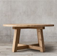 RH's Salvaged Wood Beam Round Dining Table:Our salvaged beam wood tables are handcrafted of unfinished solid salvaged pine timbers from buildings in Great Britain. Rustic Round Dining Table, Round Wood Dining Table, Dining Table Design, Wooden Tables, Dining Room Table, Round Kitchen Tables, Round Farmhouse Table, Round Tables, Diy Esstisch