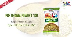 #Shop Online for #PRS #Dhania #Powder 1 Kg @ Discounted Price - Rs. 260 on Kiraanastore.com. Get Free Shipping & Pay COD.