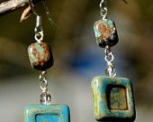 Blue Sky jasper, Acrylic, Swarovski crystal earrings with sterling silver wire and findings.