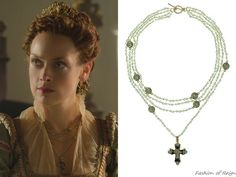 """In the episode 3x06 (""""Fight or Flight"""") Queen Elizabeth wears this Virgins, Saints & Angels Original Bicone Magdalena Pacific Opal Necklace in gold"""