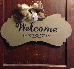 """Handmade Wooden Banner Door Hanger """"Welcome"""""""