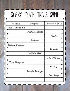 scary movie marathon party by goldenruledesignshop on etsy - Halloween Horror Movie Trivia