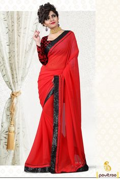 Indian summer festival special ethnic wear red color pure Georgette lace work saree with blouse design. This simple stylish lace work saree great to wear with contrast matching blouse. #saree, #casualsaree more: http://www.pavitraa.in/store/casual-saree/