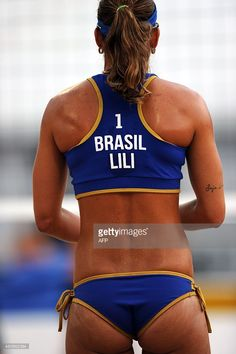 July 14 - Beach Volleyball - Women - Preliminary Round. Brazil vs Chile. Brazilian player Liliane Maestrini during the Women's Beach Volleyball Preliminary against Chile at the 2015 Pan American Games in Toronto, Canada, on July 14, 2015. Brazil won 2-0. AFP PHOTO/HECTOR RETAMAL