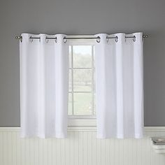 Hookless Waffle White Bathroom Window Curtain Pair For Half Bath