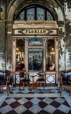 Caffè Florian in Piazza San Marco Venice Italy. The oldest cafe in Europe. Frequented by the likes of Hemingway and Monet.