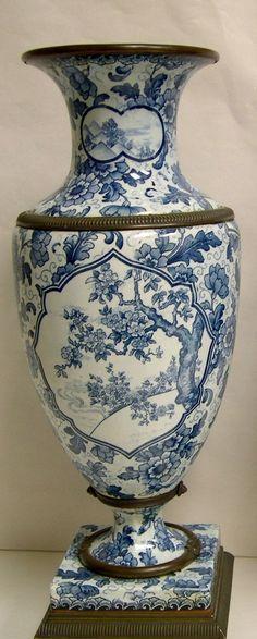 Royal Bonn blue & white porcelain vase.