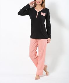 Loving this Pink & Black Bow Pajama Set on #zulily! #zulilyfinds