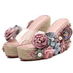 New Coming 2017 Fashion Women Slippers Transparent PVC Upper High Wedges Heel With Colorful Flowers Lady Outdoor Slides Sandals Shoes Flats Sandals, Jelly Sandals, Sport Sandals, Bridal Sandals, Beautiful Sandals, Crochet Shoes, Glitter Shoes, Cute Shoes, High Heels