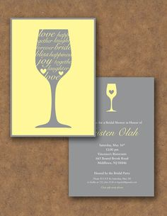 Wine Themed Bridal Shower Invitation  Fully by EventfulDesignShop