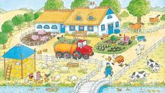 TOUCH this image to discover its story. Image tagging powered by ThingLink English Creative Writing, Farm Paintings, Farm Crafts, Picture Boards, Farm Theme, Language Development, Happy Colors, Toddler Preschool, In Kindergarten