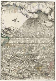 Lucas Cranach (I)   Zondvloed en ark van Noach, Lucas Cranach (I), 1523 - 1526   In een bergachtig landschap drijft de ark in het hoog gestegen water tijdens de zondvloed. Op de voorgrond op het land liggen mensen en dieren die de grote hoeveelheid regen niet overleefd hebben. Fijne lijnen die de regen suggereren bedekken bijna de hele prent behalve de hoek linksboven waar een duif met een olijftak in de snavel vliegt en een raaf eet van een dood dier op het land.